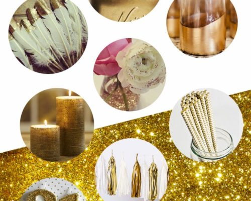 GOLD, WHITE, AND BURLAP INSPIRATION BOARD