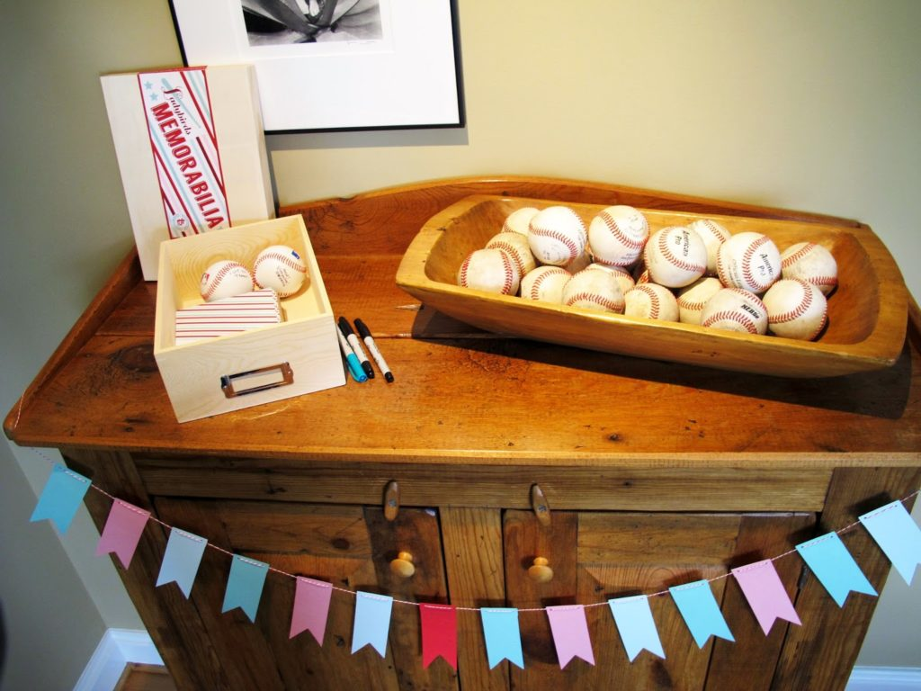 we had a tough time finding inspiration for a modern adult girls baseball theme so we stuck with simple colors pink red and mint and gave it a vintage
