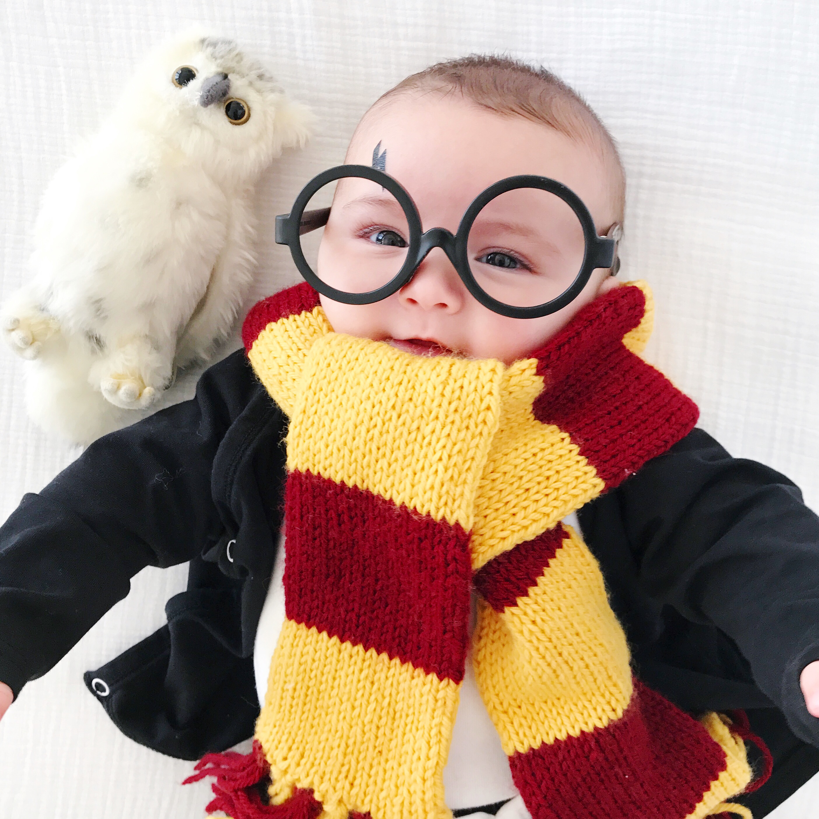 Scarf pattern linked below & DIY BABY HARRY POTTER COSTUME